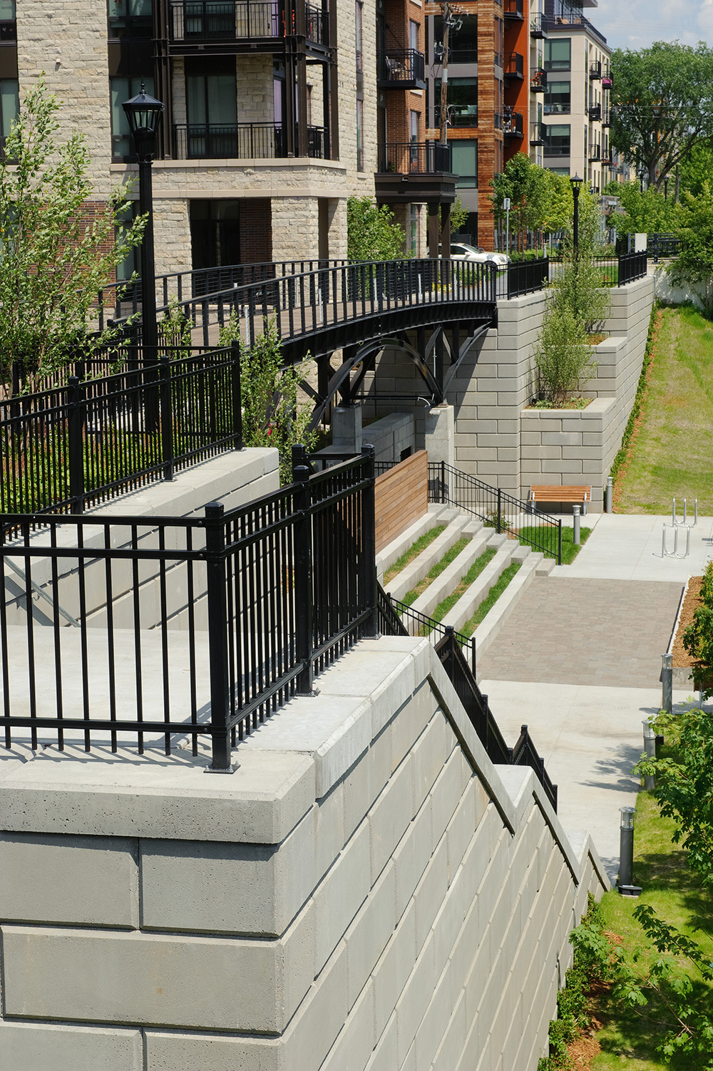 Elan Uptown Luxury Apartments, landscaping, fencing and stairs